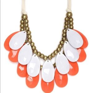 Bauble Bar Coral/White Teardrop Bib Necklace